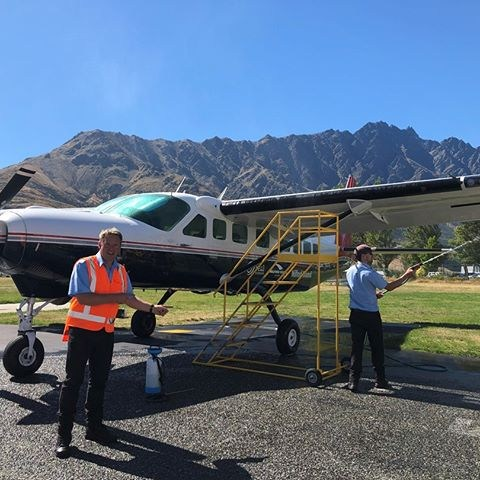 Making sure the underneaths of our wings are ready for the daily Instagram features 📷 🛩 🏔. . . . . #milfordsoundscenicflights #destinationNZ #adventure #travelnz #queenstown #nzmustdo #newzealandgram #nz #southisland #beautifulplaces #discovernewzealand #newzealandvacations #purenz #downsouthnz #landscapesnz #lifeofnewzealand #wonderlustnewzealand #wanderlustofnz #bestnewzealand #goNZ #earthpixnz #naturelovers #purenewzealand #ignewzealand #wanderlust #travelstoke #wanderlustofnz #queenstownairport #theremarkables #windowseat